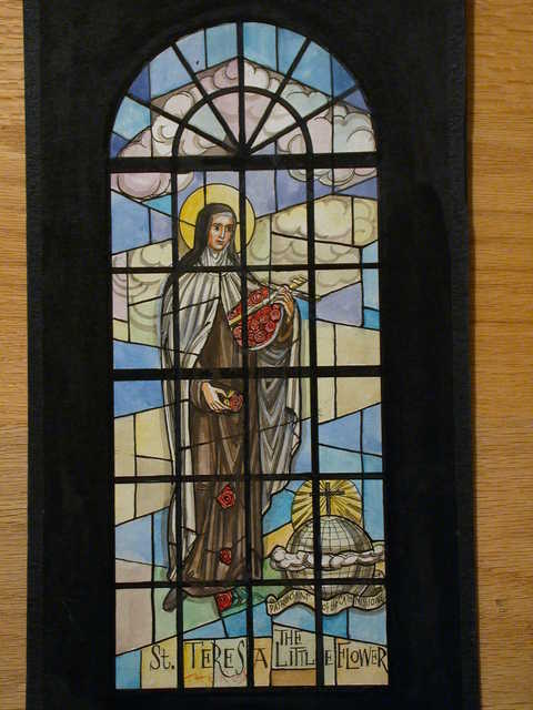 """[Design drawing for stained glass window showing St. Teresa (rewritten Therese) """"The Little Flower""""]"""