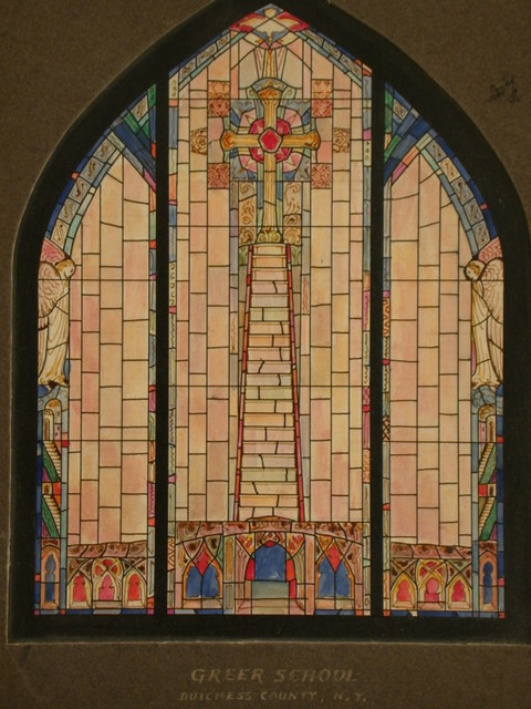 [Design drawing for stained glass window showing stairway to Cross, with Angels, Gothic architecture and opaque panes for Greer School in Duchess County, New York]