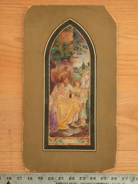 [Design drawing for stained glass window showing Suffer the Little Children; Christ with floating halo]