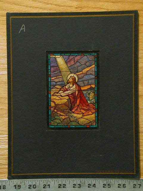 [Design drawing for stained glass window showing The Agony in Beatific style]