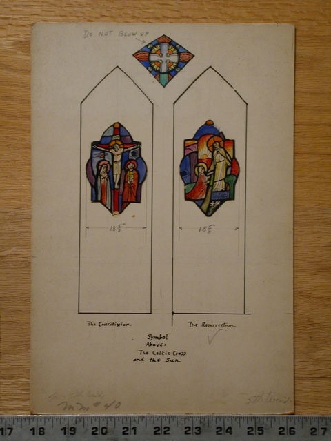 [Design drawing for stained glass window showing The Crucifixion and The Resurrection]
