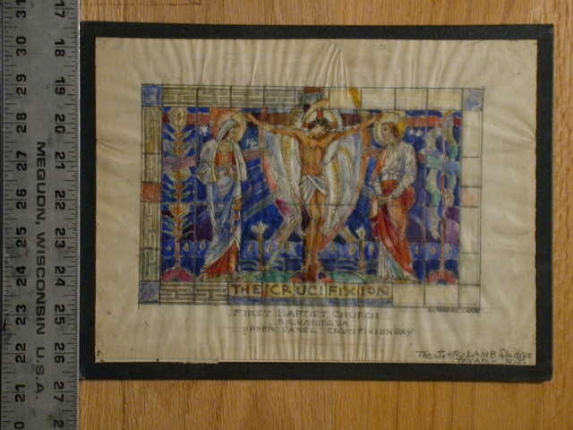 [Design drawing for stained glass window showing the Crucifixion for First Baptist Church in Richmond, Virginia]