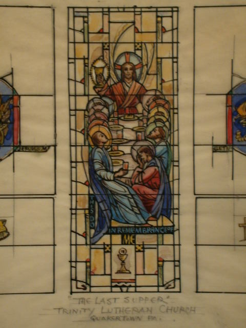 [Design drawing for stained glass window showing The Last Supper with symbols of Eucharist, and Crucifixion for Trinity Lutheran Church in Quakertown, Pennsylvania]