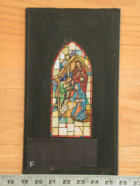 [Design drawing for stained glass window showing the Nativity]