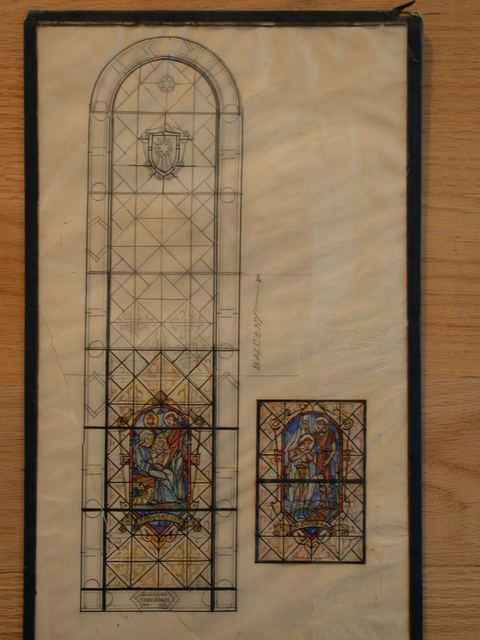 """[Design drawing for stained glass window showing The Nativity and The Baptism of Jesus with text """"In memoriam: John Adam""""]"""