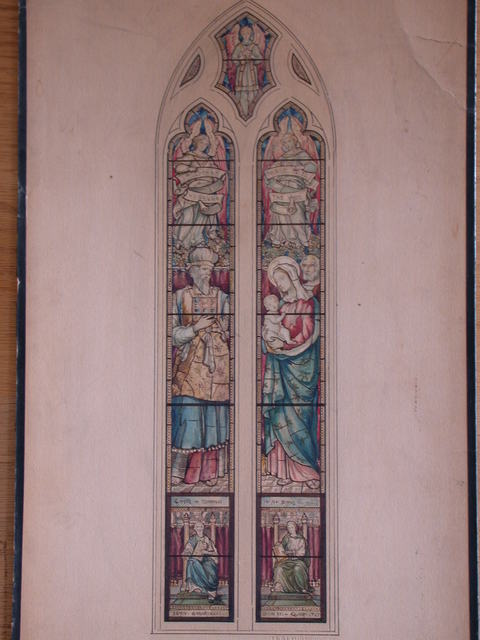 [Design drawing for stained glass window showing the Presentation in the Temple]