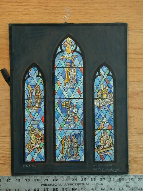[Design drawing for stained glass window showing The Seven Acts of Mercy: Clothing the Naked, Feeding the Hungry, Visiting the Imprisoned, Visiting the Sick, Giving Drink to the Thirsty, Sheltering the Homeless, and Burying the dead for St. Luke Episcopal Church in New Haven, Connecticut]