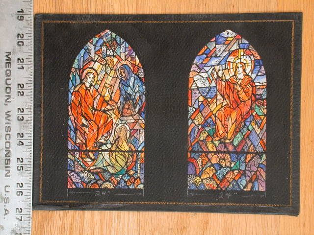 [Design drawing for stained glass window showing two scenes of adult Christ]