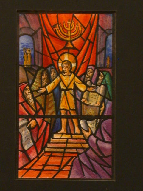[Design drawing for stained glass window showing young Christ in the Temple with menorah for St. Thomas of Canterbury Church in Smithtown, Long Island, New York]