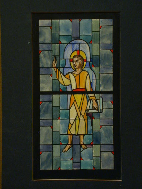 [Design drawing for stained glass window showing Young Christ with scroll, on blue grid background]