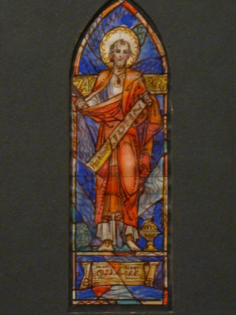 [Design drawing for stained glass window showing Zacharias with censer]