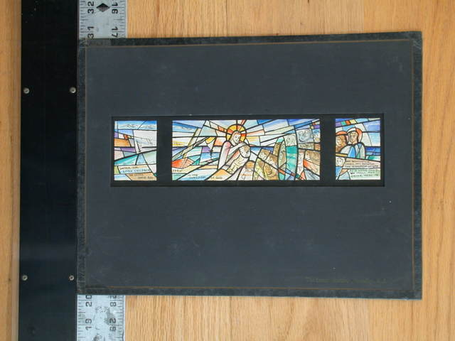 """[Design drawing for stained glass window """"Suffer the Little Children...,"""" triptych composition with ships, children with puppies and parents, and Christ at center of radiating panes]"""