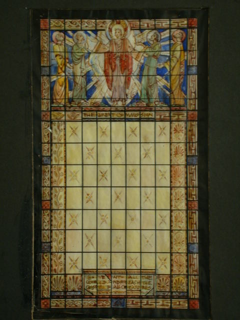 """[Design drawing for stained glass window """"The Great Commission"""" for First Baptist Church in Richmond, Virginia]"""