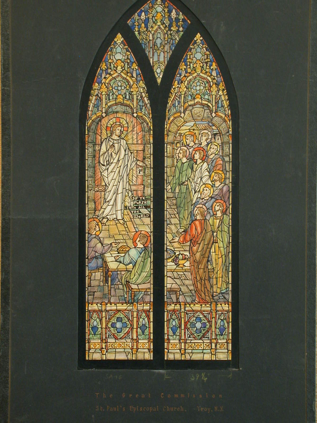 """[Design drawing for stained glass window (""""The Great Commission"""") for St. Paul's Episcopal Church in Troy, New York]"""