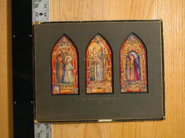 """[Design drawing for stained glass window """"The Presentation"""" for Church of the Holy Communion]"""