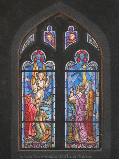 """[Design drawing for stained glass window """"The Wise Men Warned by God in a Dream"""" with star, angel, and camel]"""