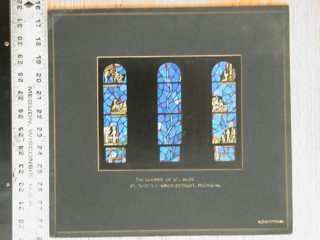 "[Design drawing for stained glass window ""The Works of St. Jude"" showing small iconic scenes on blue arched windows, central window nonfigural to be background for sculpture, for St. Jude's Church in Detroit, Michigan]"