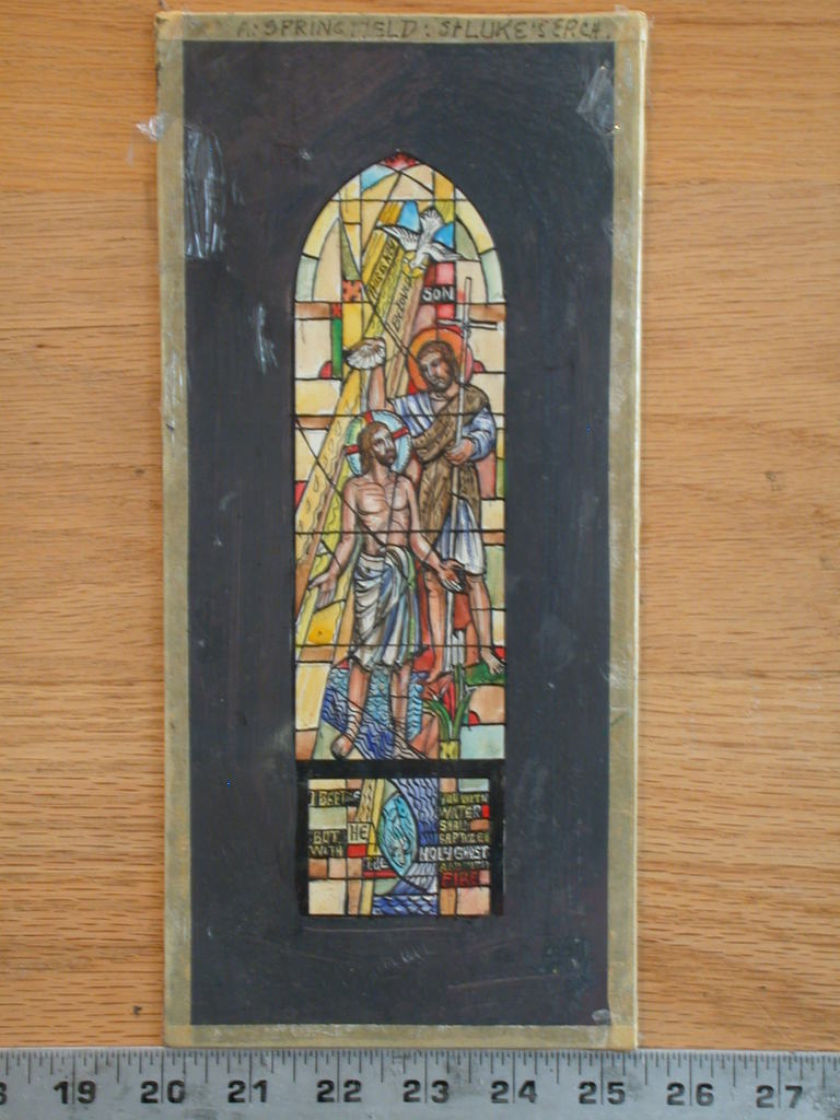 """[Design drawing for stained glass window """"This is My Beloved Son"""" showing Baptism of Christ with shell, dove, and fish]"""