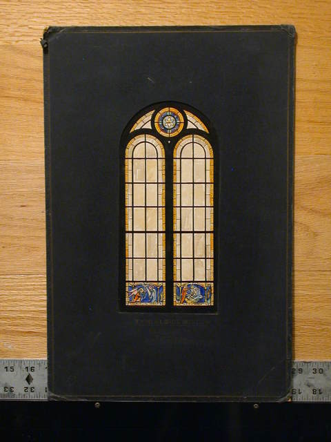 """[Design drawing for stained glass window (""""typical side window""""), translucent with small colored Star of David tondo and small colored bases with Annunciation; Nativity for First Baptist Church in Tifton, Georgia]"""