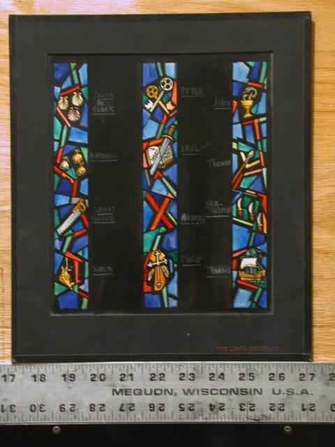 [Design drawing for stained glass window with 3 columns of saintly symbols: shells = James the Elder; caught fish = Simon; St. Andrew's Cross = Andrew, etc.]