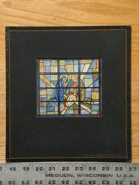 [Design drawing for stained glass window with 3-figure Nativity on grid]