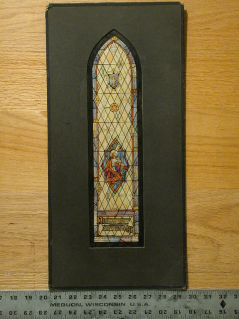 """[Design drawing for stained glass window with Agony on diamond panes and text: """"...Let This Cup...""""]"""
