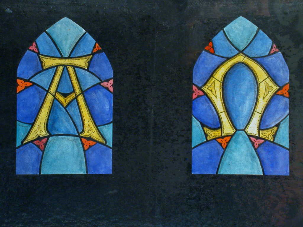 Design drawing for stained glass window with Alpha; Omega] - PICRYL Public  Domain Search