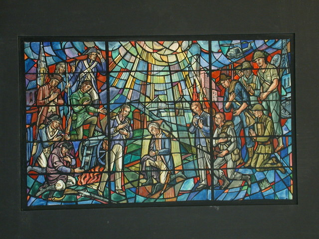 [Design drawing for stained glass window with American Military theme: George Washington kneels and prays at center, before suspension bridge, divine light; Revolutionary troops, cannon, musket, camp fire, farm, Independence Hall at left; and Mid 20th Century servicemen, skyscrapers, helicopters, tank, communications tower and satellite dish at right; also at right, Civil War, World War I servicemen]