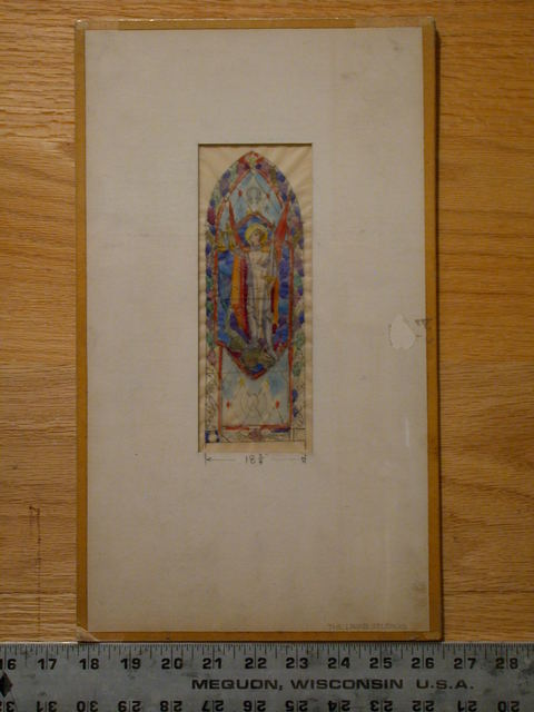 [Design drawing for stained glass window with Archangel Michael]