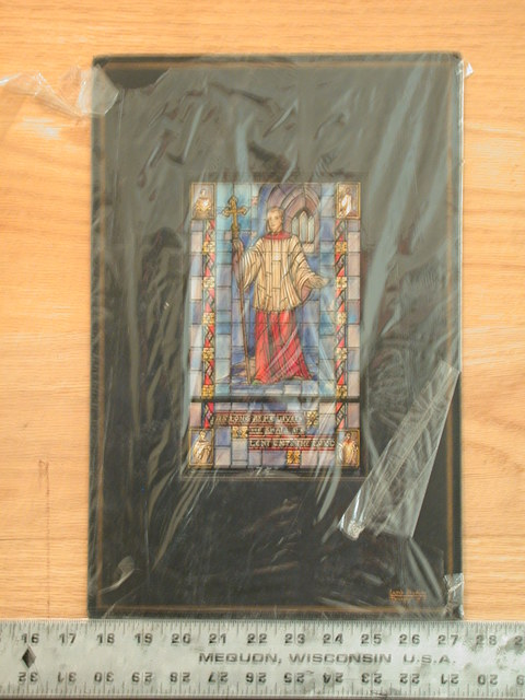 """[Design drawing for stained glass window with """"As Long As He Liveth He Shall Be Lent Unto The Lord, Acolyte"""" showing priesthood or ministry, including young man/acolyte in modern liturgical robes and insets of activities]"""