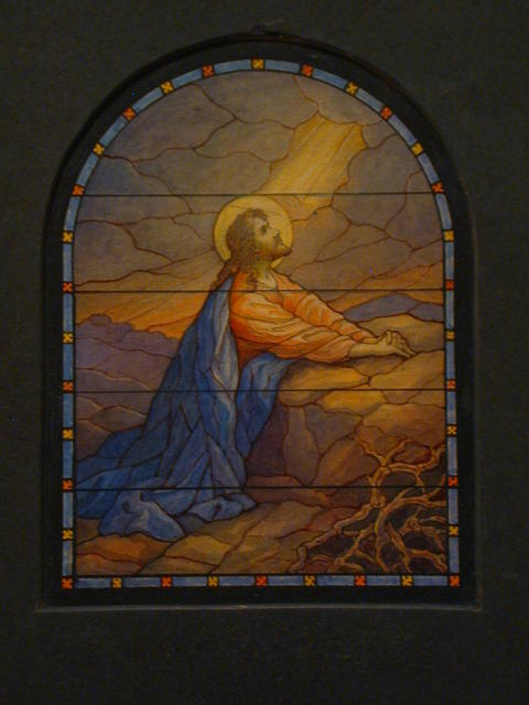 [Design drawing for stained glass window with Beatific agony]