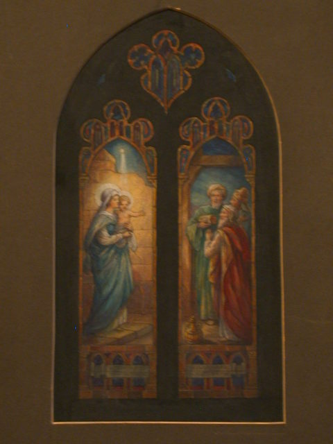 [Design drawing for stained glass window with Beatific Madonna, Child, and Magi]