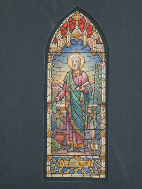 [Design drawing for stained glass window with Beatific male saint with scroll, sword, Classical temple]