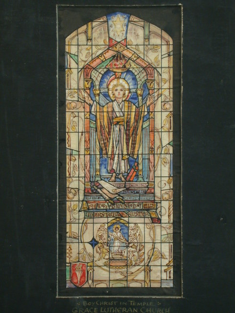 [Design drawing for stained glass window with Boy Christ in Temple [sic] for Grace Lutheran Church in Jersey City, New Jersey]