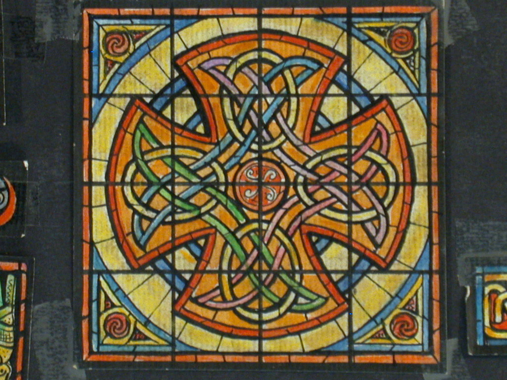 [Design drawing for stained glass window with Celtic cross and 6 associated accent windows]