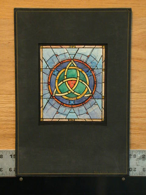 [Design drawing for stained glass window with Celtic trefoil knot]