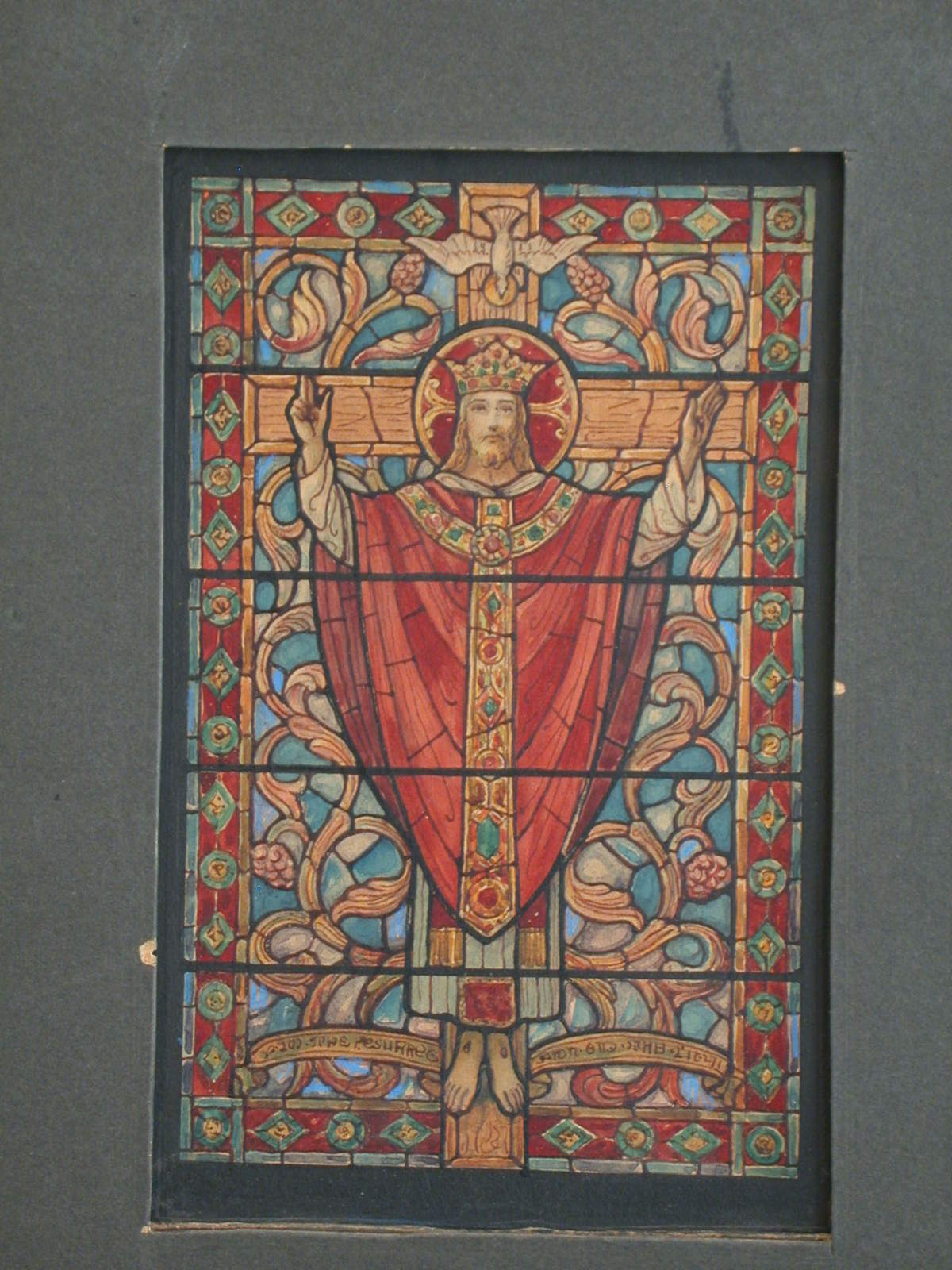 [Design drawing for stained glass window with Christ as King, richly robed and crowned, blesses from crucifix; on carpet foliate grapevine ground]