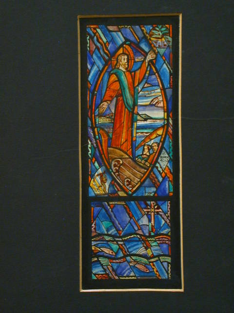 """[Design drawing for stained glass window with Christ in ship and text """"St. Mark 4:1-3""""]"""