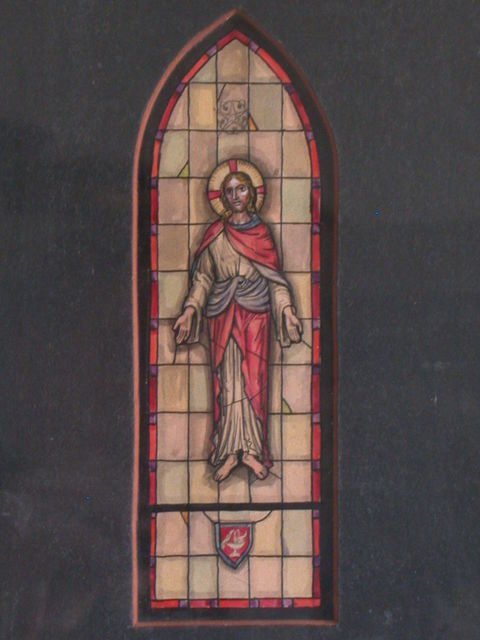 [Design drawing for stained glass window with Christ; includes fountain, star]
