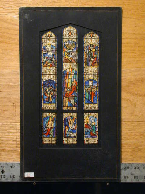 [Design drawing for stained glass window with Christ, Paul; center panel shows Conversion of Paul]