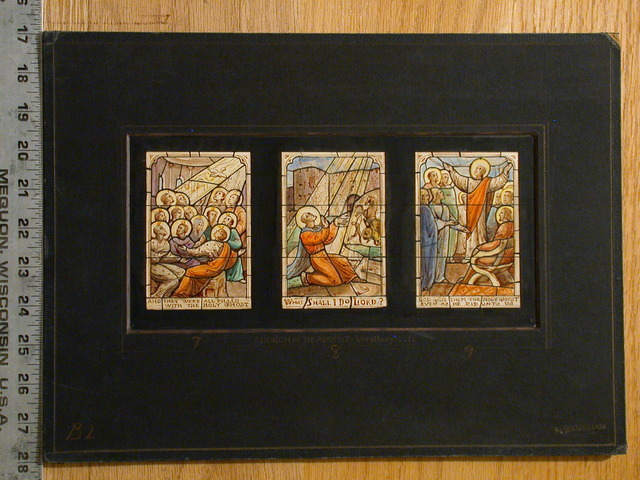 [Design drawing for stained glass window with Christ triptych showing Pentecost for Church of the Advent in Westbury, Long Island, New York]