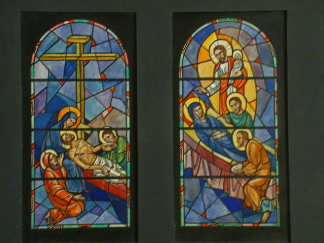 [Design drawing for stained glass window with Christ's medical miracles]