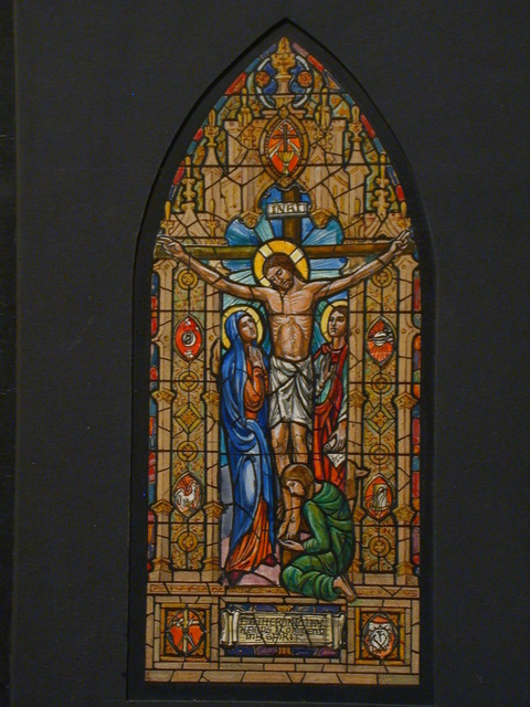 [Design drawing for stained glass window with Crucifixion]