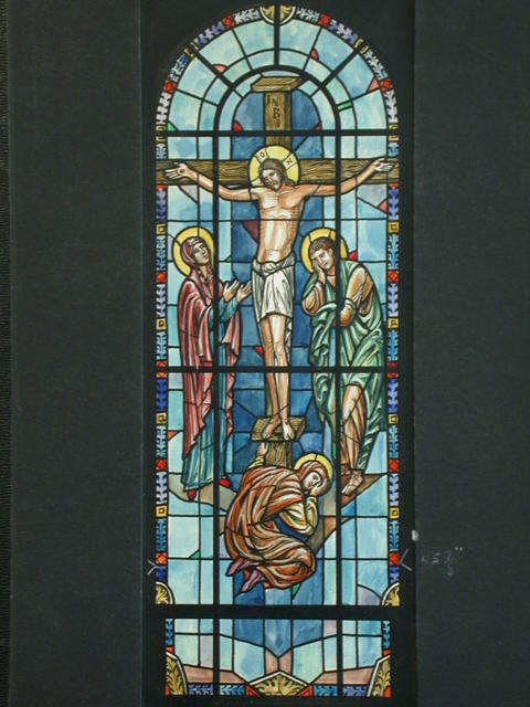 [Design drawing for stained glass window with Crucifixion in bold]