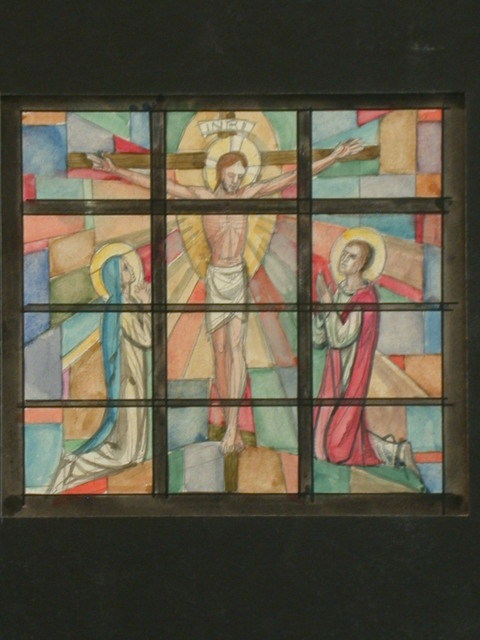 [Design drawing for stained glass window with Crucifixion; one image over twelve panes broken by thick muntins/cames]