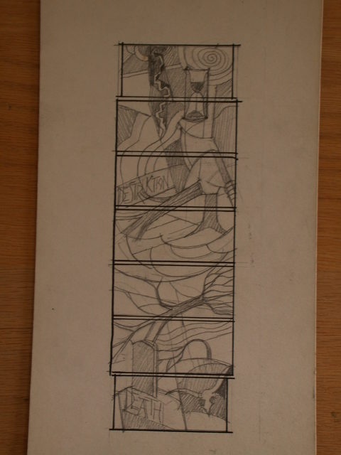"""[Design drawing for stained glass window with """"Death by Human Destruction;"""" and """"Death Caused by Nature""""]"""