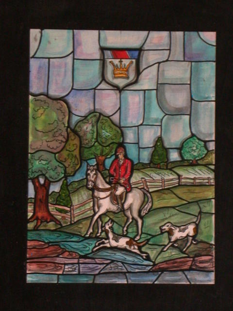 [Design drawing for stained glass window with figure in red jacket hunting on horseback with dogs, under crest with crown, for a private residence in Norwood, New Jersey]
