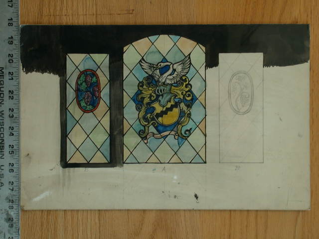 [Design drawing for stained glass window with grapes, crest, and swan emerging from armor helmet, on diamond panes (incomplete)]