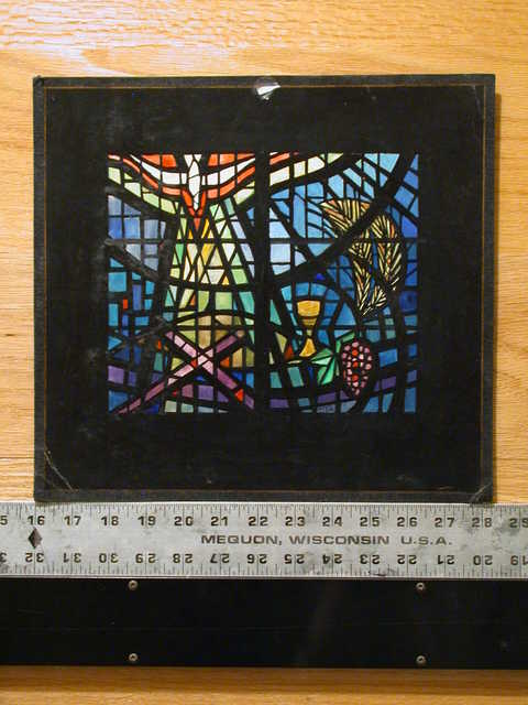 [Design drawing for stained glass window with highly abstracted Holy Eucharist including dove, light, cross, chalice, grain, grapes]