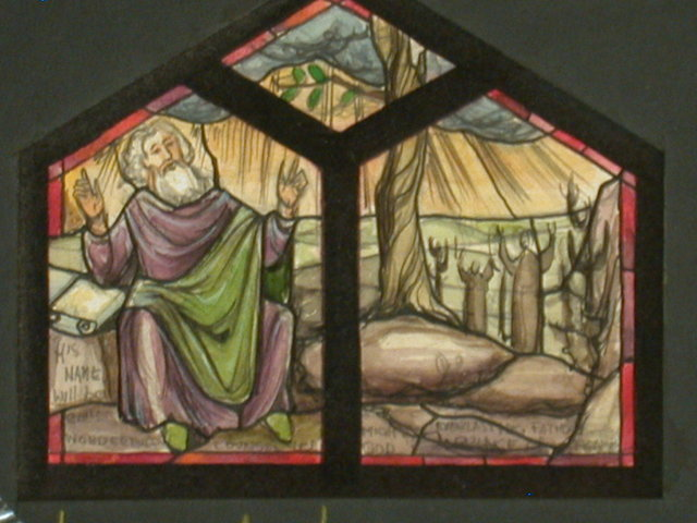 "[Design drawing for stained glass window with ""His Name shall be Called Wonderful Counselor ...""]"